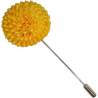 Bassin and Brown Chrysanthemum Flower Lapel Pin - Yellow