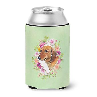 Dachshund Red #1 Green Flowers Can or Bottle Hugger