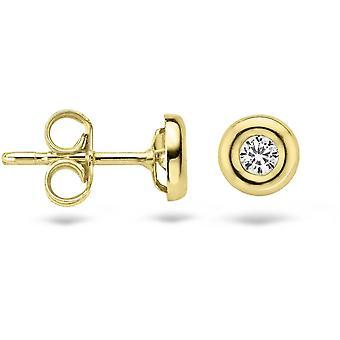 Earrings Blush 71249YZI - Yellow gold and zirconium oxide 4 mm set closed