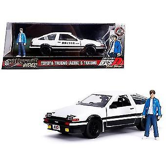 Toyota Trueno (AE86) avec Takumi Diecast Figure Initiale D First Stage (1998) Série TV Hollywood Rides Series 1/24 Diecast Model Car de Jada