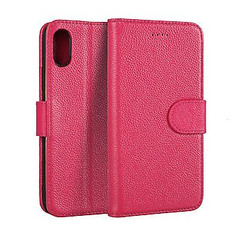 For iPhone XS,X Wallet Case,Elegant Fashion Cowhide Genuine Leather Cover,Pink