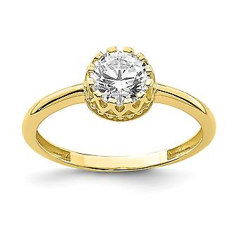 10k Tiara Collection Polished Cubic Zirconia Ring Size 7 Jewelry Gifts for Women