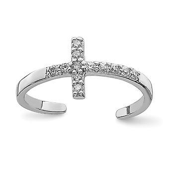 925 Sterling Sølv CZ Cubic Zirconia Simulert Diamond Religiøs Tro Cross Toe Ring Smykker Gaver til kvinner