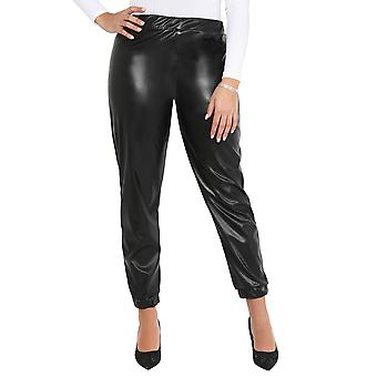 KRISP Women Faux Leather High Waist Fashion Joggers Wet Look Trousers Bottoms Pants