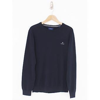 GANT Cotton Crew Logo Logo Knit - Bleu du soir