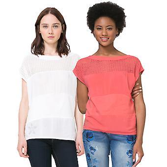 Desigual Women's White 2 Crochet Panel Tshirt Top