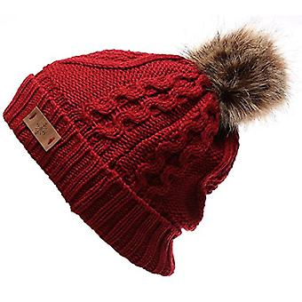 Women's Faux Fur PomPom Fleece Lined Knitted Slouchy, Maroon Red, Size One Size