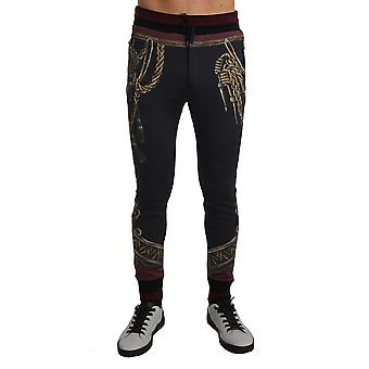 Dolce & Gabbana Gray Cotton Gold Medal Training Trousers