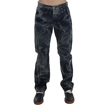 Exte Blue Wash Cotton Regular Fit Marble Effect Jeans