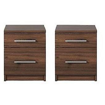 Pair Of Prague 2 Drawer Bedside Tables Walnut