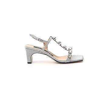 Sergio Rossi A88500mfn4248198 Women's Silver Leather Sandals