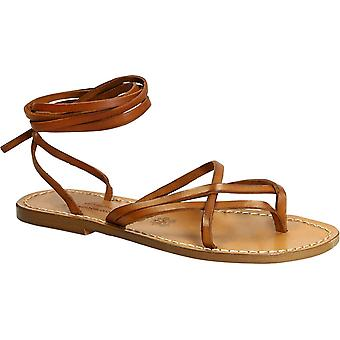 Women's vintage cuir strappy leather sandals handmade in Italy