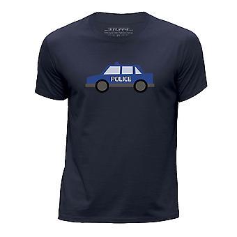 STUFF4 Boy's Round Neck T-Shirt/Police Car/Navy Blue