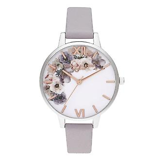 Olivia Burton Watches Ob16pp56 Watercolour Florals Demi Grey Lilac, Rose Gold & Silver Leather Ladies Watch