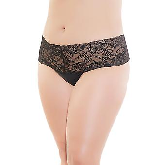 Womens Plus Size High Waisted Wide Lace Waistband Thong Underwear