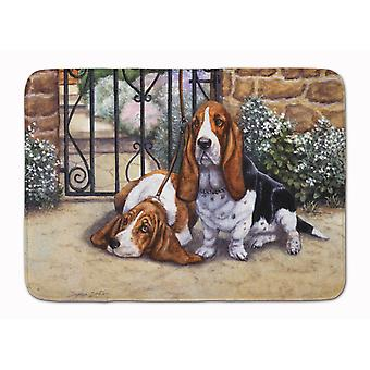 Basset Hound at the gate Machine Washable Memory Foam Mat