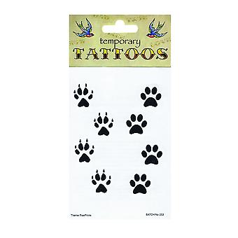Bristol Novelty Paw Print Temporary Tattoos (Pack Of 10)