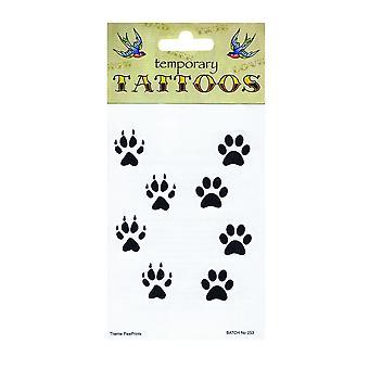 Bristol Nyhet Paw Print tillfälliga tatueringar (Förpackning med 10)