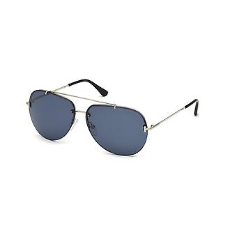 Tom Ford Brad-02 TF584 16V Shiny Palladium/Occhiali da sole blu