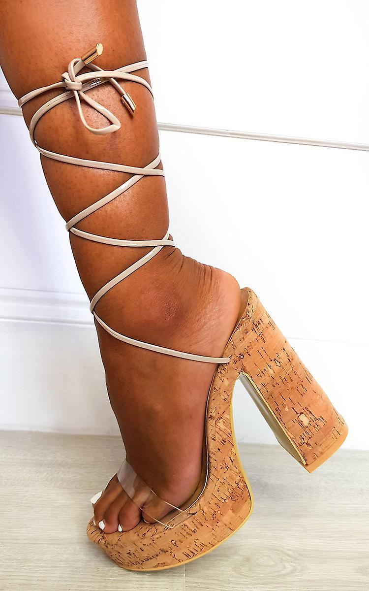 IKRUSH Womens Keira Cork Lace Up Platform Heels