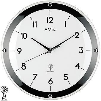 AMS 5906 ساعة ساعة راديو راديو ساعة تناظرية بالأبيض والأسود جولة عادي مع الزجاج