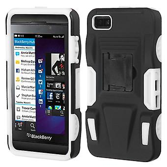 ASMYNA Rubberized Advanced Armor Case with Stand for BlackBerry Z10 - Noir/Blanc