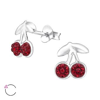 Cherry - 925 Sterling Silver Crystal Ear Studs - W24690x