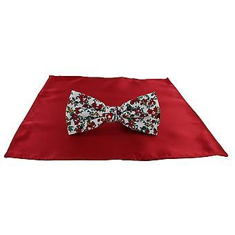 Michelsons de Londres Contast Floral laço e bolso liso quadrado conjunto - vermelho