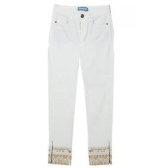 Desigual Cream Embroidered Jeans