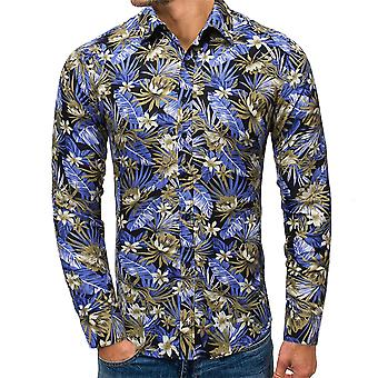 Allthemen Men's Beliebte Colorblocked Floral Print Revers Langarm Shirts