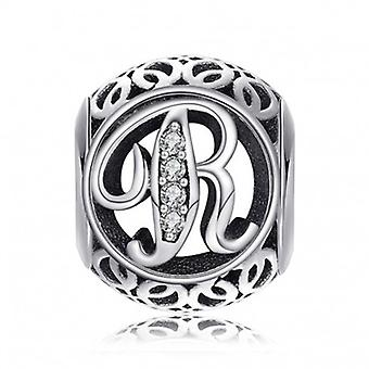 Sterling Silver Charm With Zirconia Stones Letter R - 5193