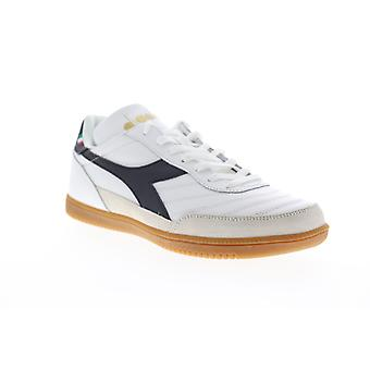 Diadora Gold Indoor  Mens White Leather Low Top Sneakers Shoes