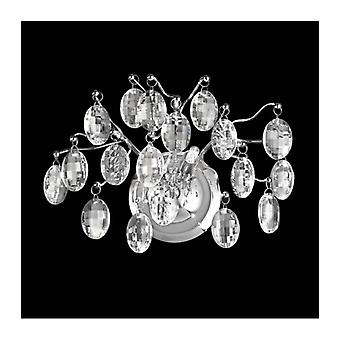Wisteria Chrome Wall Light 2 Bulbs