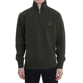 Aeronautica Militare Green Cotton Stretch Half Zipper Sweater
