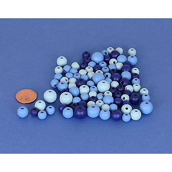 Assorted Blue Mix Wooden Threading Beads Adults Crafts - 25g