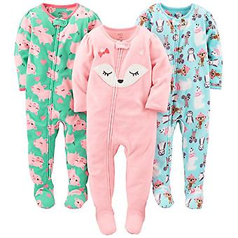 Simple Joys by Carter's Baby Girls' 3-Pack Flame Resistant Fleece Footed Paja...