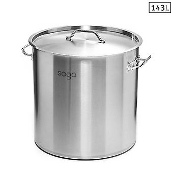 SOGA Stock Pot 143L Top Grade Thick Stainless Steel Stockpot 18/10