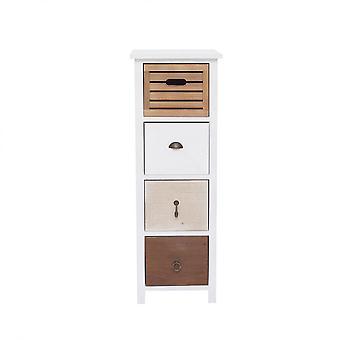 Rebecca Furniture Comodino 4 Laden Shabby Vintage Brown White Wood 89x31x27