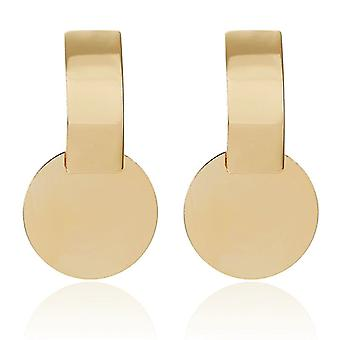 Gold Round Disc Charm Earrings