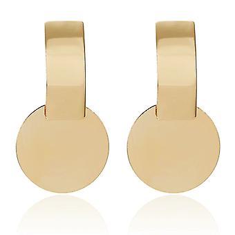 Orecchini Gold Round Disc Charm