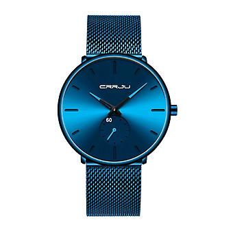 CRRJU Quartz Watch - Anologue Luxury Movement for Men and Women - Blue