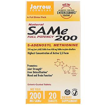 Jarrow Formulas, Natural SAM-e (S-Adenosyl-L-Methionine) 200, 200 mg, 20 Enteric