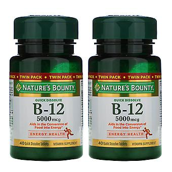 Nature's Bounty, B-12, Twin Pack, Naturally Cherry Flavor, 5,000 mcg, 40 Quick D