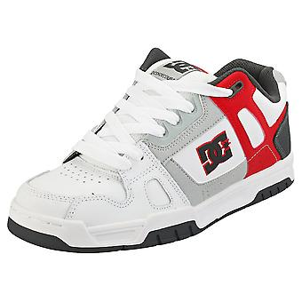 DC Shoes Stag Mens Skate Trainers in White Red Grey