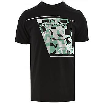 BOSS Musta Puuvilla Abstrakti Logo T-paita