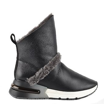Ash KLIMA Boots Black Leather And Grey Faux Fur