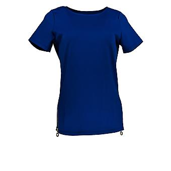 BROOKE SHIELDS Timeless Women's Top (XXS) Side Zipper Detail Blue A341953