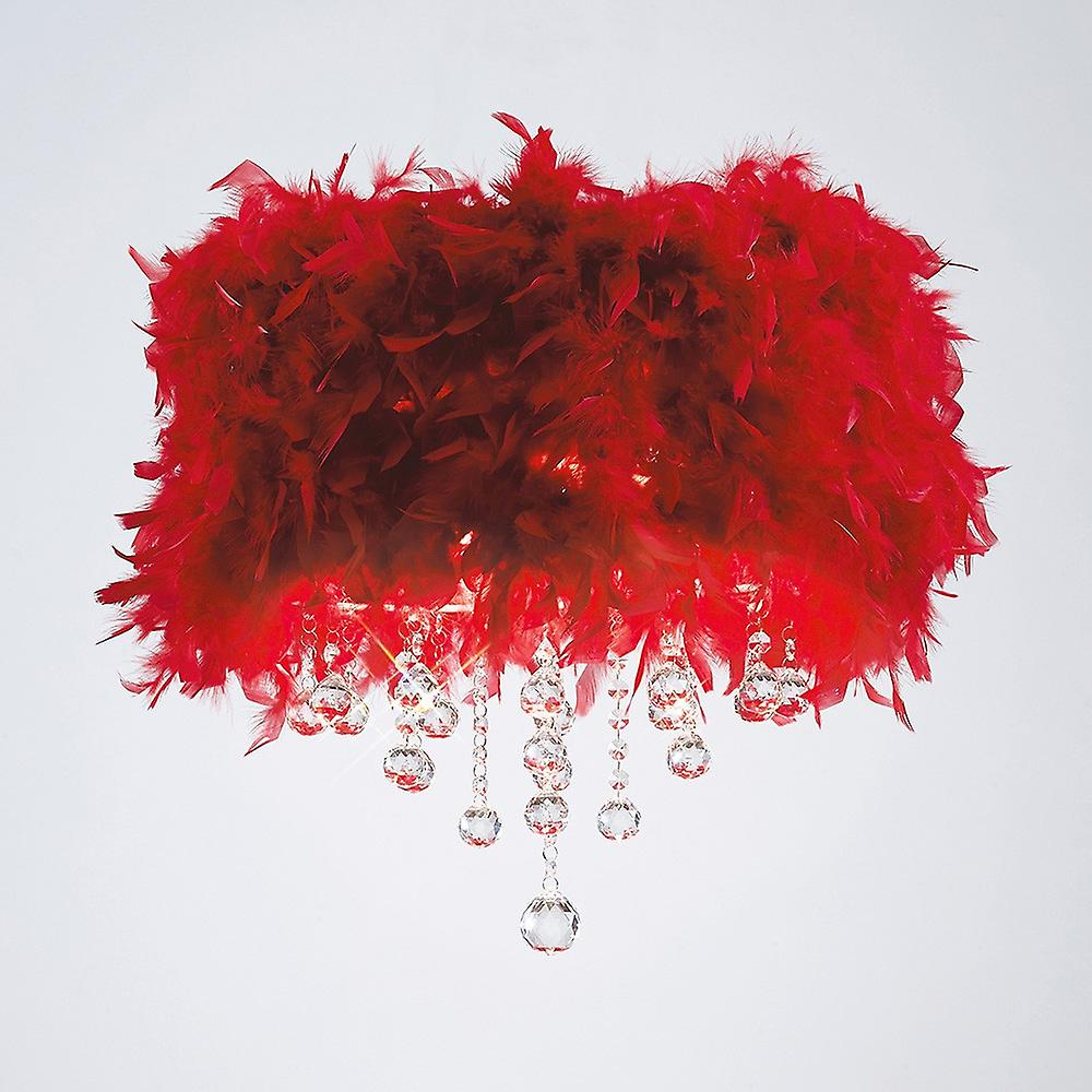 Inspired Diyas - Ibis - Flush Ceiling with Red Feather Shade 3 Light Polished Chrome, Crystal