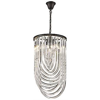 3 Light Ceiling Pendant Black Chrome, Clear with Crystals, E14