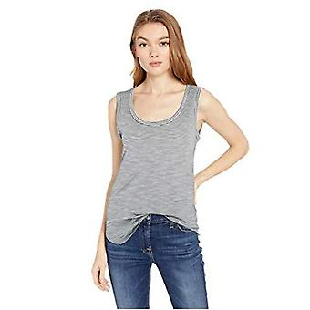 Brand - Daily Ritual Women's Lightweight Lived-In Cotton Scoop Neck Muscle T-Shirt, Black/White Micro Stripe, Medium